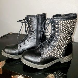 Qupid black combat boots with silver studded sides